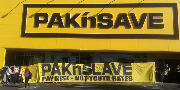 Loading The protest scene outside Pak'n Save in Royal Oak today. Photo / Anita Rosentreter/Supplied