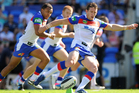 Kurt Gidley of the the Knights kicks the ball during the match against the Gold Coast Titans. Photo / Getty Images