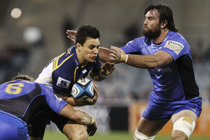 Matt Toomua of the Brumbies is tackled during the round 11 Super Rugby match against the Force. Photo / Getty Images