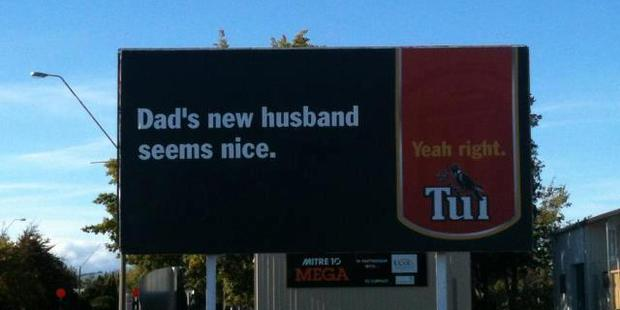 A new Tui billboard is being called homophobic and offensive. Photo/supplied