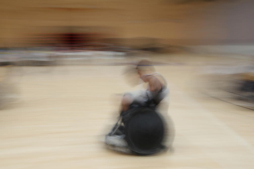 Clayton Utia during the wheelchair rugby competition.