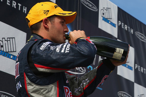 Whincup grabbed the lead from Lowndes in the final race of the weekend. Photo / Getty Images