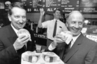 Brian Popham (left) at Georgie Pie's flagship Greenlane restaurant with the store's senior restaurant manager, Peter Foster, and Progressive Enterprises' chief financial controller, John Spencer. Photo / NZ Herald. Picture Research / Emma Land