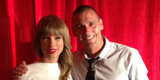 Dominic Harvey with Taylor Swift. Photo / Supplied