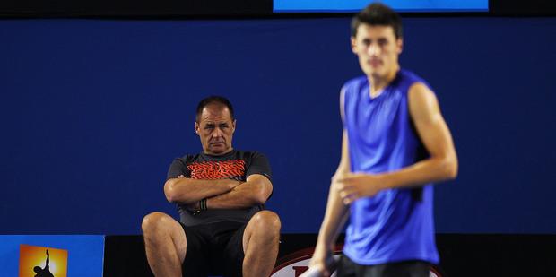 John Tomic has been a menacing presence behind son Bernard. Photo / Getty Images