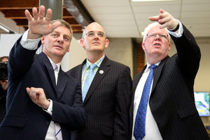 Minister of Finance Bill English, Minister for State Owned Enterprises Tony Ryall and NZX CEO Tim Bennett. Photo / Getty Images