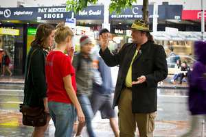 Performer Edward Harcourt reckons stressed Aucklanders might need a quirky street magician to slow them down. Photo / Michael Craig