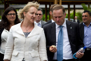Communications and Information Technology Minister Amy Adams talking with Prime Minister John Key. Photo / NZH