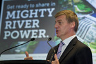 Bill English speaking at the launch of pre-registration for the Government's share offer in Mighty River Power. Photo / NZH