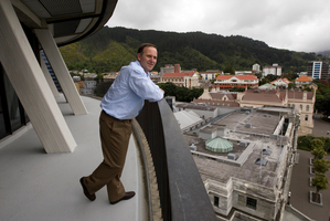 John Key on the balcony of his 9th floor Beehive office at Parliament in Wellington. Photo / Mark Mitchell