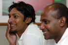 Kumar Sangakkara (L) and Sanath Jayasuriya. Photo / AP