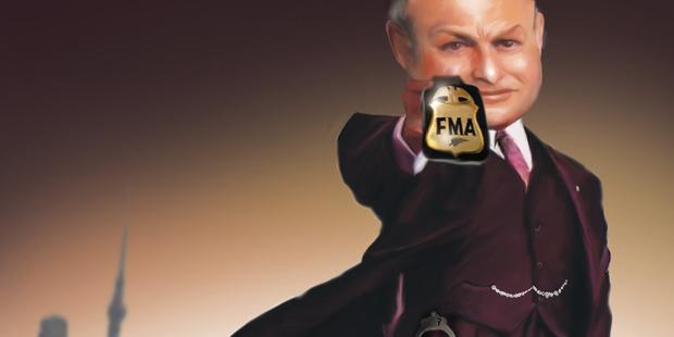 Caricature of FMA chief, Sean Hughes. Illustration / Rod Emmerson