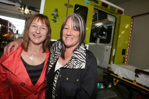 The new ambulance was donated by Fiona Wilton, left, and Siobhan Logan's mother's Leprechaun Trust. Photo / Lynda Feringa