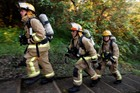 Onerahi Volunteer Fire team training for the Sky Tower challenge. Photo / APN