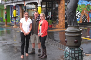 Kawakawa business owners Chevy Taylor, Richard Duley and Melanie Uren are concerned about police cutbacks in their town. Photo / Peter de Graaf