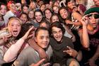 X Factor contestants Rotorua's Sam Yeoward, 15, (right front) and Whakatane's Cameron Rota, 14, (left front) at John Paul College. Photo / Ben Fraser