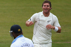Doug Bracewell celebrates the wicket Ross Whiteley. Photo / Getty Images
