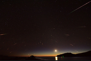 The annual Eta Aquarids meteor shower captured from Otago Harbour at Aramoana was captured by Stephen Voss.