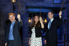 Prince Harry, left, Kate Middleton and Prince William on the set of the Harry Potter Films. Photo/AP