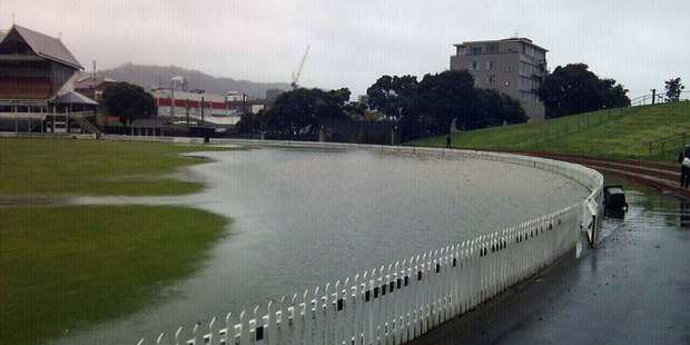 Loading Surface flooding at the Basin Reserve. Photo / Michael Ricketts