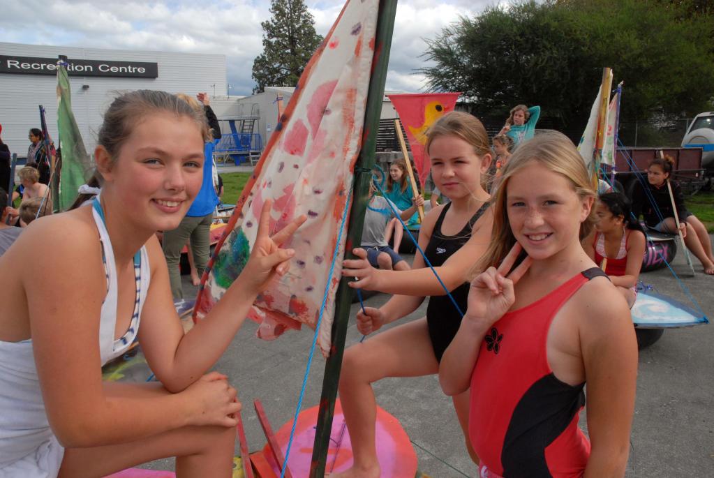 wta020513khraft02.jpg Raft race- from left, Angel McRae, Masterton, Zoey Carlton, Masterton and Amanda Bertram, Carterton