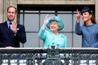 Catherine, Duchess of Cambridge, (R) her husband Prince William (L) and Queen Elizabeth II (C). Photo / AFP