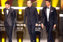 Lionel Messi of Barcelona, Andres Iniesta of Barcelona and Cristiano Ronaldo of Real Madrid enter the stage during the FIFA Ballon d'Or Gala 2013. Photo / Getty Images.