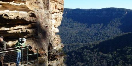 "Justine Tyerman looks out from the ""tummy"" of the first of the Three Sisters. Photo / Chris Tyerman"