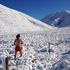 Roseanna Slatter photographed boyfriend Hamish O'Carroll after they stopped in the snow in the Lindis Pass after New Year to catch some much-needed sun. Photo / Roseanna Slatter
