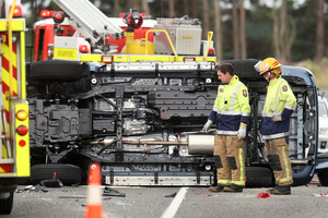 A scene from the crash at Tikitere Hill. Photo / Ben Fraser