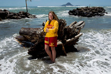 Whakatane lifeguard Chantal Lillas,18, pictured on the foreshore at Whakatane Heads, is being hailed a hero for her part in rescuing a man and his 8 year old son. Photo / Alan Gibson
