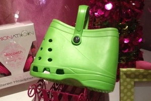 Croc wearers can now match their fashion-challenged footwear with an equally unattractive handbag. Photo / Supplied