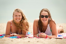 Olivia Hay and Alice Jackson hit the beach. Photo / Natalie Slade