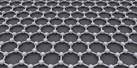 Graphene is made of pure carbon, with atoms arranged in a regular hexagonal pattern, similar to graphite but in a one-atom-thick sheet.