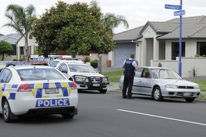 Police searching for the intruder in Papamoa. Photo / Bay of Plenty Times