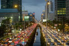 Commuters in Bangkok traffic jams crawl along at an average speed of 18km/h. Photo / Bloomberg