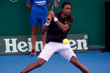 Franchman Gael Monfils folded in just 48 minutes today. Photo / Greg Bowker