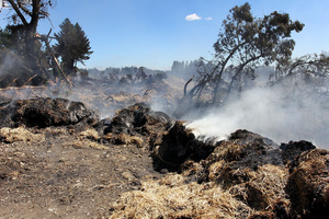 Hay continues to burn on property near Prebbleton, near Christchurch. Photo / Martin Hunter