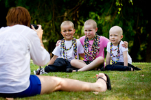 The faces of the Child Cancer Foundation for 2013, (from left) Hilton McCullough, 5, Myah Tasker, 6, and Emilie Johns, 4, pose for photographer Sam Mothersole. Photo / Dean Purcell