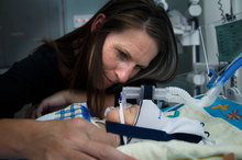 Michelle Bain with her 9-week-old, Lachlan, in Wellington Hospital's neona