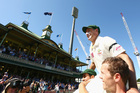 Much loved Australian Michael Hussey is chaired off the SCG pitch. Photo / Getty Images