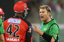 The stoush between Marlon Samuels and Shane Warne seemed contrived. Photo / Getty Images
