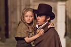 Isabelle Allen as a young Cosette and Hugh Jackman as Jean Valjean in Les Miserables. Photo / Supplied