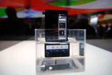 Sony's new Xperia Z smartphone is displayed in water at the Sony booth at the International Consumer Electronics Show in Las Vegas. Photo / AP