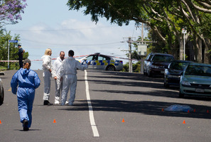 Police work within the cordon on Pilkington Rd in Panmure, Auckland on January 1, 2013. Photo / Greg Bowker