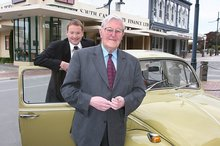 Former South Canterbury Finance chief executive Lachie McLeod and the late Allan Hubbard, whose case won't be heard until May. Photo / Supplied