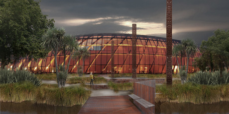 An artist's impression of the proposed Te Puna Ahurea Cultural Centre, which will be part of the $30 billion overhaul of Christchurch's new urban centre. Image / Supplied