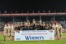 New Zealand Women's team celebrate after winning the IRB Women's Sevens World Series at the Emirates Airline Dubai Rugby Sevens held at 'The Sevens', Dubai, UAE. Photo / Stephen Hindley/Photosport.co.nz
