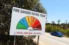 A fire danger sign on the Hume Highway outside of Marulan, Australia. Photo / Brendon Thorne