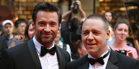 Hugh Jackman and Russell Crowe at the Sydney premiere of Les Miserables. Photo/AP